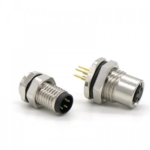 M8 前锁板插防水连接器 m8公母防水插座插头连接器