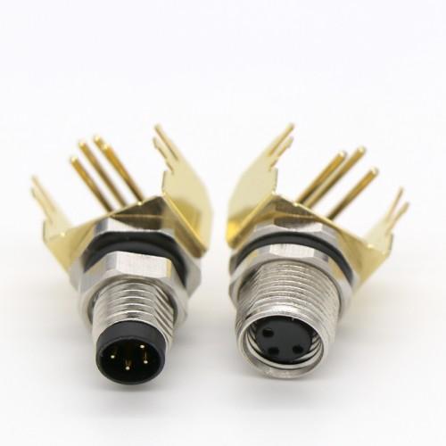 M8 弯角插座防水连接器 m8公母防水插座插头连接器