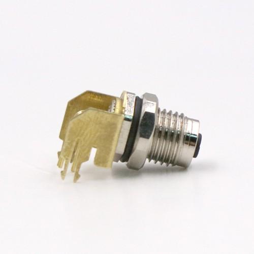 M5 弯角插座防水连接器 m5公母防水插座插头连接器