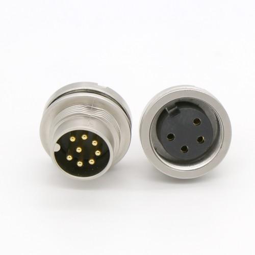 M16 后锁插座防水连接器 m16公母防水插座插头连接器