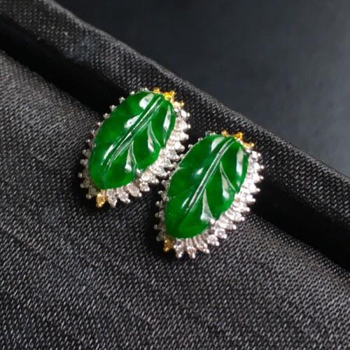 糯冰种浓绿叶子翡翠耳钉 镶白18K金彩宝伴钻