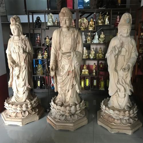 木雕佛像厂家雕塑香樟木西方三圣佛像