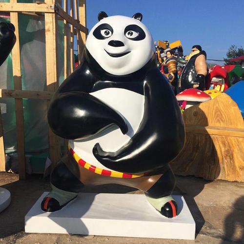 功夫熊猫玻璃钢雕塑 卡通雕塑可定制